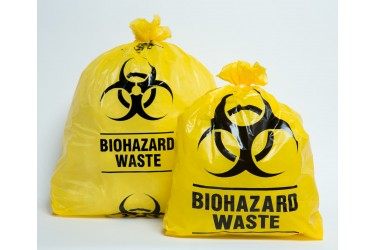 BIOHAZARD WASTE BAG YELLOW WITH CABLE TIES