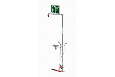 HUGHES, OUTDOOR Floor Mounted Self-Draining Emergency Safety Shower with Eye/Face Wash