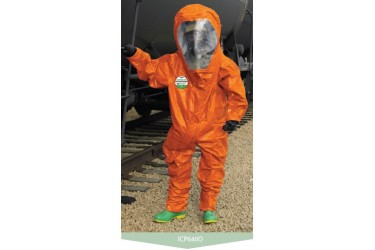 LAKELAND ICP640 INTERCEPTOR PLUS, Level A, Fully-Encapsulated Gas Tight Suit, ORANGE color, EC APPROVED Size: LARGE