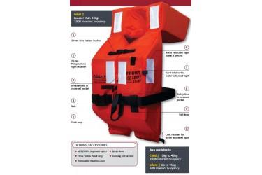 COSALT 10572 PREMIER 2010 FOAM SOLAS LJKT,ORANGE RED,ADULT