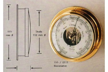 """HANSEATIC, P/N: 155/0111 BAROMETER, 4.65"""" DIAL"""