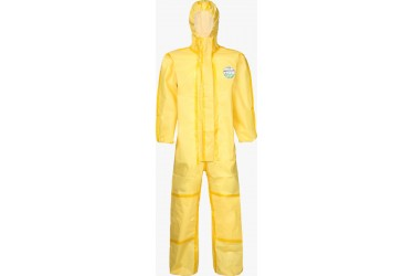 LAKELAND CHEMMAX1 CT1S428, COVERALL WITH HOOD, SZ: LARGE, YELLOW
