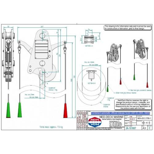 Ned Deck Car 35 Automatic Release Hook 36kn Ec Med