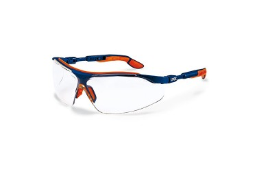 UVEX, 9160-065 I-VO SPECTACLE, BLUE/ORANGE, LENS: PC CLEAR